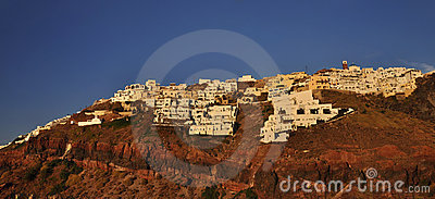 Thira town on rocky island