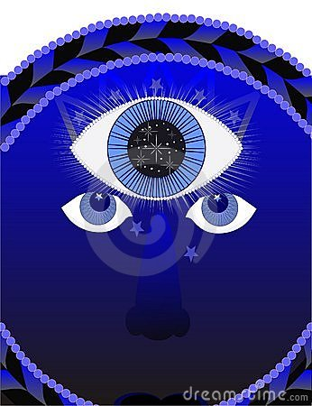 Third eye, psychic illustration