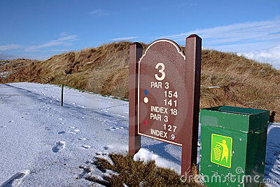 Third tee information sign on golf course