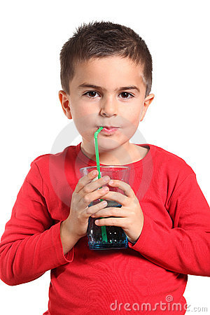Thirsty child drinking pure fresh water