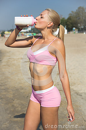 Thirsty Girl Drinking Water Royalty Free Stock Photos - Image: 28767468