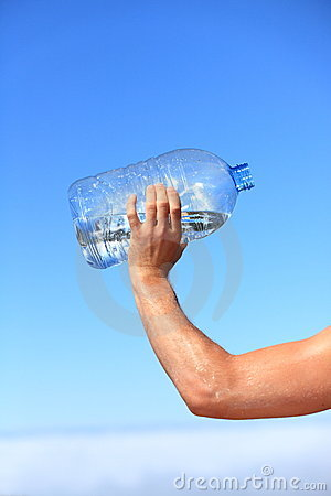Thirsty man drinking water