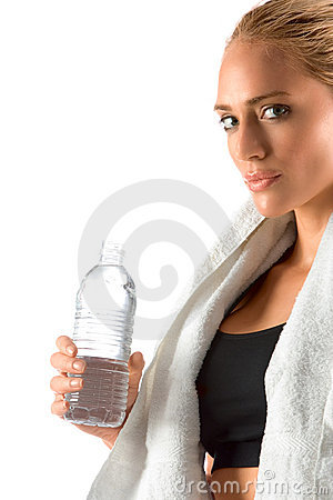 Thirsty woman in gym bottle