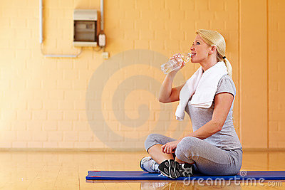 Thirsty woman with water