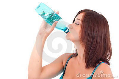 Thirsty young women drinking