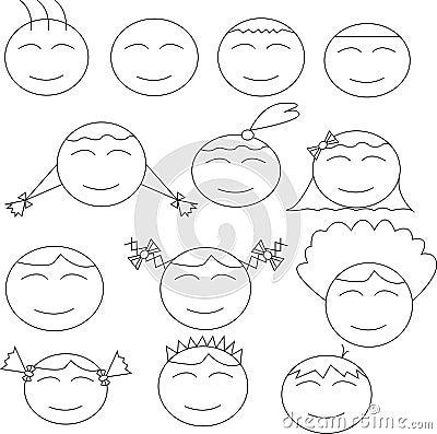 Thirteen human comical faces