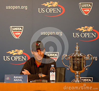 Thirteen  times Grand Slam champion Rafael Nadal during press conference after he won US Open 2013 Editorial Photo