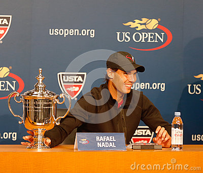 Thirteen  times Grand Slam champion Rafael Nadal during press conference after he won US Open 2013 Editorial Stock Photo