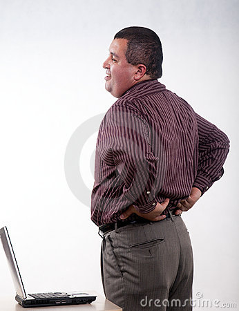 Thirties hispanic businessman backpain