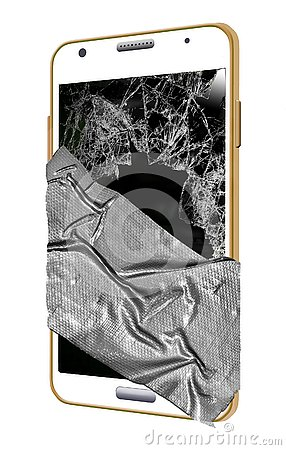 Free This Illustration Shows Broken Cell Phone Smoldering, Cracked And Taped. Royalty Free Stock Images - 125627789