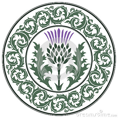 Free Thistle Flower And Ornament Round Leaf Thistle. The Symbol Of Scotland Royalty Free Stock Image - 81400766