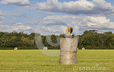 Hay Bales During Le Tour de France Editorial Stock Image