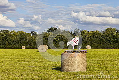 Hay Bales During Le Tour de France Editorial Stock Photo
