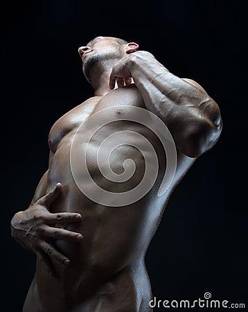 th me de bodybuilder et de bande beau avec l 39 homme nu pomp de muscles posant dans le studio. Black Bedroom Furniture Sets. Home Design Ideas
