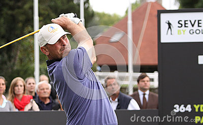 Thomas Bjorn at the Seve Trophy 2013 Editorial Stock Photo