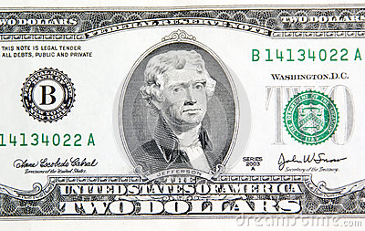 Thomas Jefferson on two dollars.