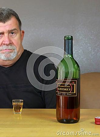 Thoughtful Alcoholic Adult Man