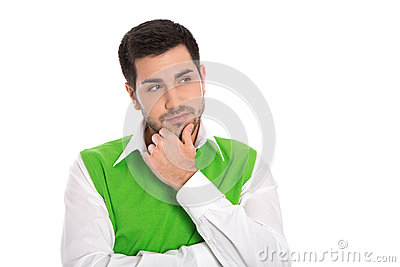 Thoughtful attractive business man isolated on white background.