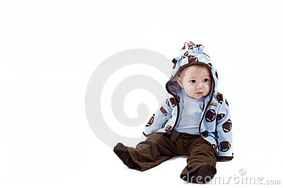 Thoughtful baby boy dressed blue hoodie