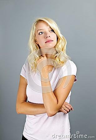 Thoughtful blonde woman