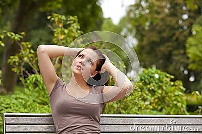 Thoughtful brunette woman