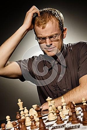 Thoughtful chess master