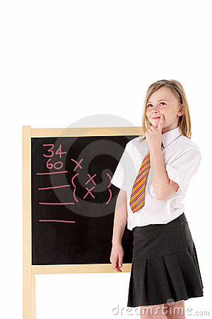Thoughtful Female Student Wearing Uniform Next To