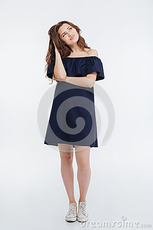 Free Thoughtful Frowning Young Woman Standing And Thinking Royalty Free Stock Photo - 75518325