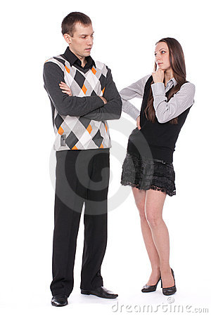 Thoughtful girl and young man