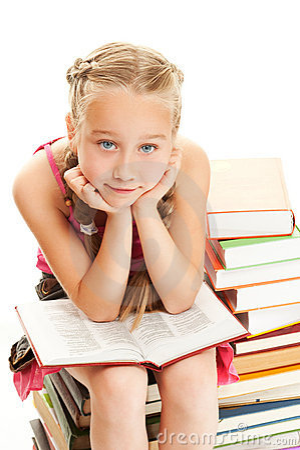Thoughtful little schoolgirl