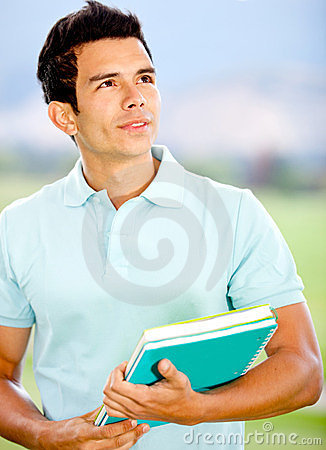 Thoughtful male student