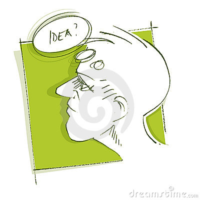 Thoughtful man (head icon) - got an idea