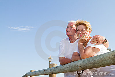 Thoughtful senior couple