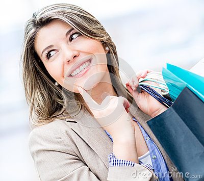 Thoughtful shopping girl
