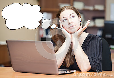 Thoughtful woman a brunette with blank thought cloud