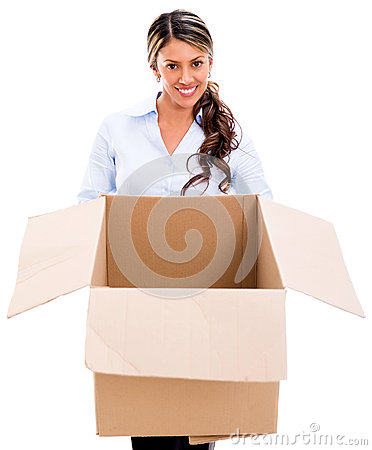 Thoughtful woman with an empty box