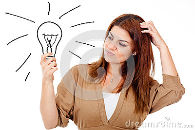 Thoughtful woman with an idea