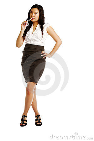 Thoughtful Young Asian Business Woman Thinking Stock Image - Image: 23503951