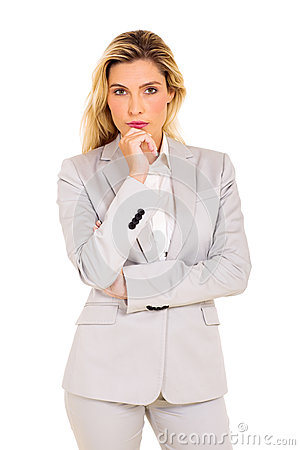 Free Thoughtful Young Businesswoman Royalty Free Stock Photos - 54125258