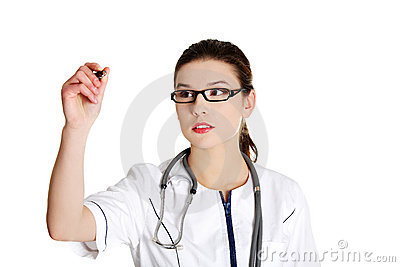 Thoughtful young female doctor with pen