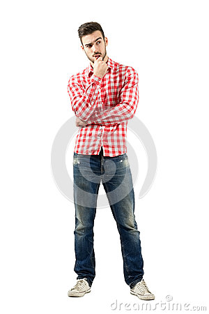 Free Thoughtful Young Man Having A Dilemma Royalty Free Stock Image - 46904146
