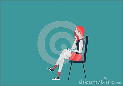 Thoughtful young woman on the chair. character with moving body parts Vector Illustration