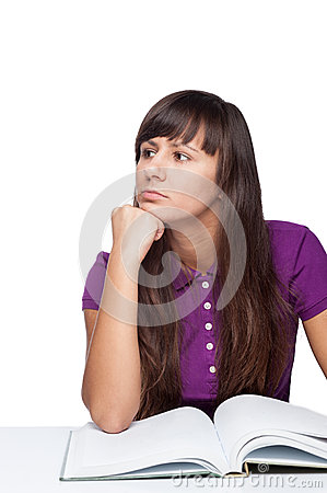 Free Thoughtfull Girl With Book Royalty Free Stock Photos - 37455078