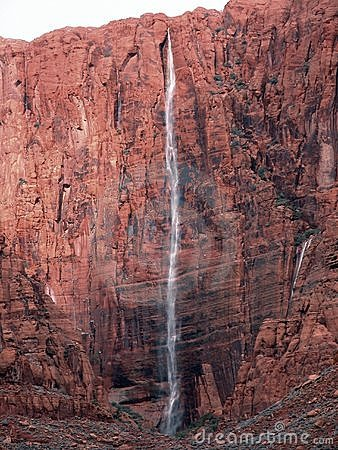 Thousand Foot Red Rock Waterfall