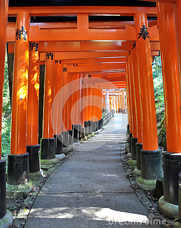 Thousand torii gates in Fushimi Inari Shrine, Kyoto, Japan