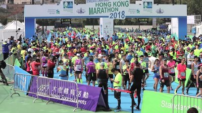 Hong Kong Marathon 2018 stock video