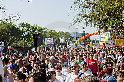 Thousands March In West Hollywood For APLA Editorial Photography