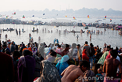 Thousands of pilgrims bathing Editorial Stock Image