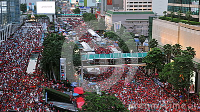 Thousands of Red Shirts Protest in Bangkok Editorial Photography