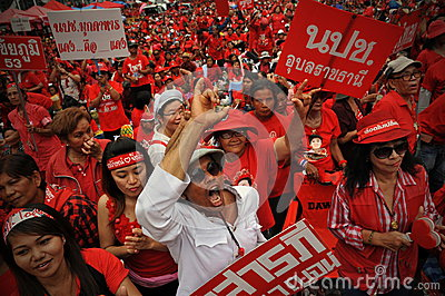 Thousands of Red Shirts Protest in Bangkok Editorial Stock Photo